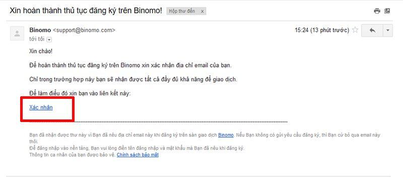 Kích hoạt tài khoản Binomo